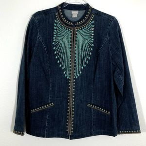Chico's Heritage Beaded Denim Jacket FB13☮️